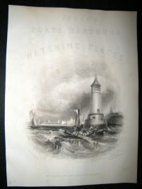UK 1842 Antique Print. Entrance To The Port Of Berwick, Finden